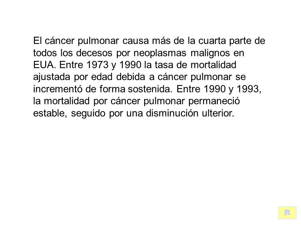 El cáncer pulmonar causa más de la cuarta parte de todos los decesos por neoplasmas malignos en EUA.