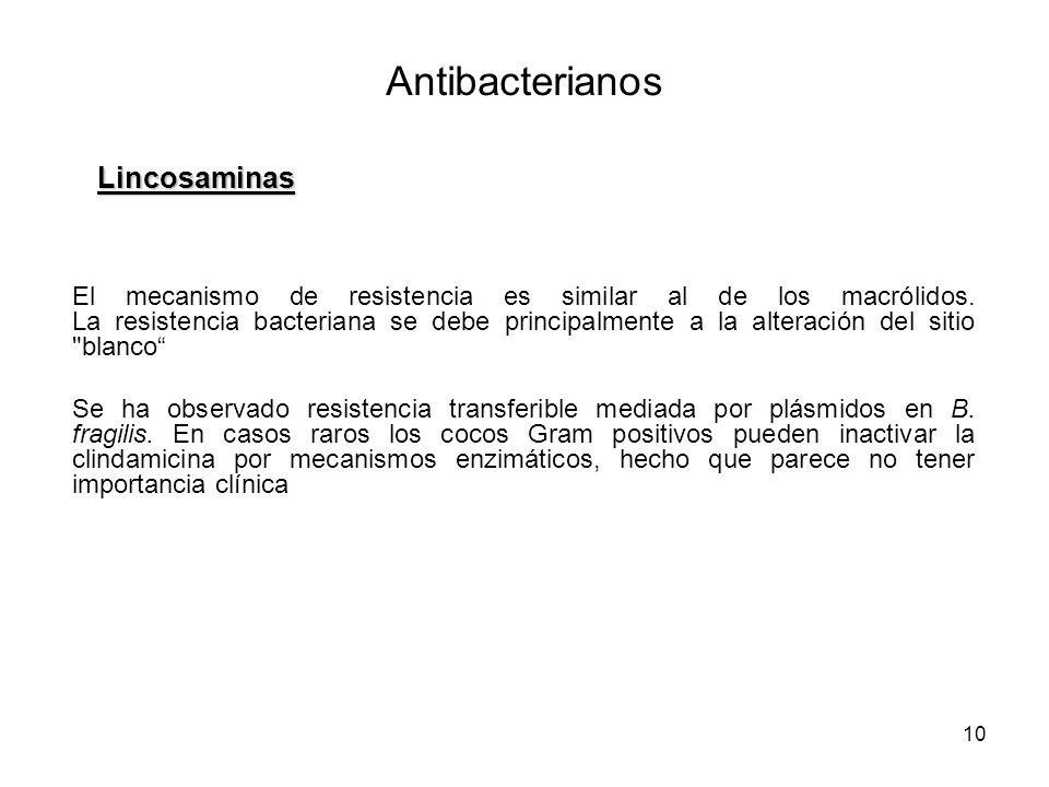 10 El mecanismo de resistencia es similar al de los macrólidos. La resistencia bacteriana se debe principalmente a la alteración del sitio