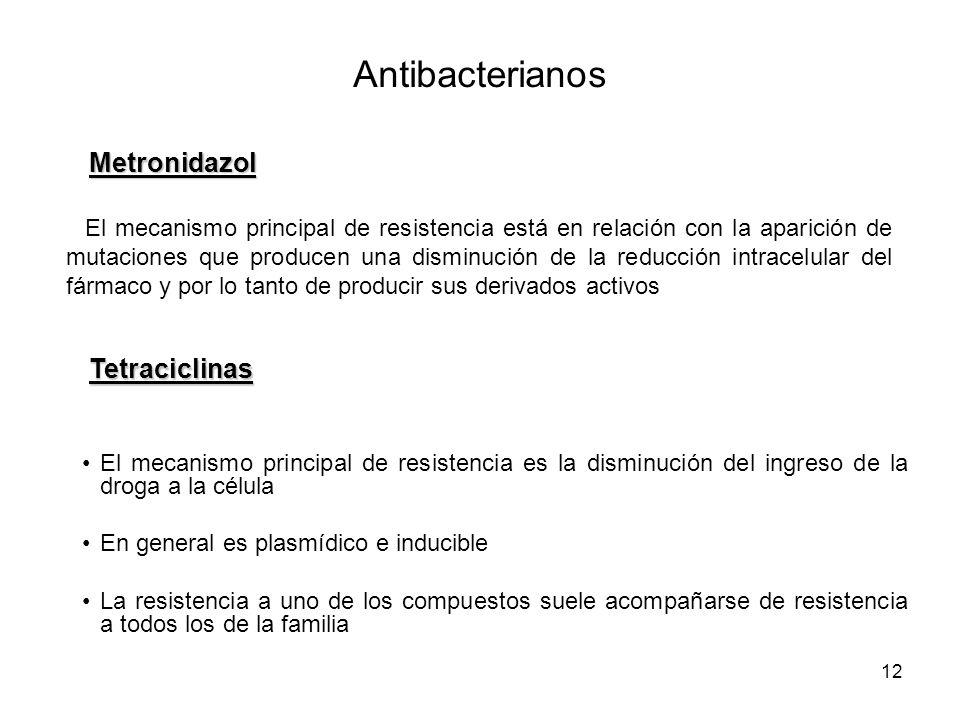 12 El mecanismo principal de resistencia está en relación con la aparición de mutaciones que producen una disminución de la reducción intracelular del