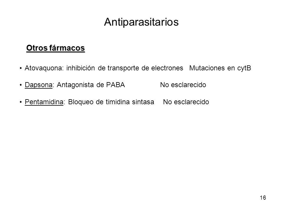16 Antiparasitarios Otros fármacos Atovaquona: inhibición de transporte de electronesMutaciones en cytB Dapsona: Antagonista de PABA No esclarecido Pentamidina: Bloqueo de timidina sintasa No esclarecido