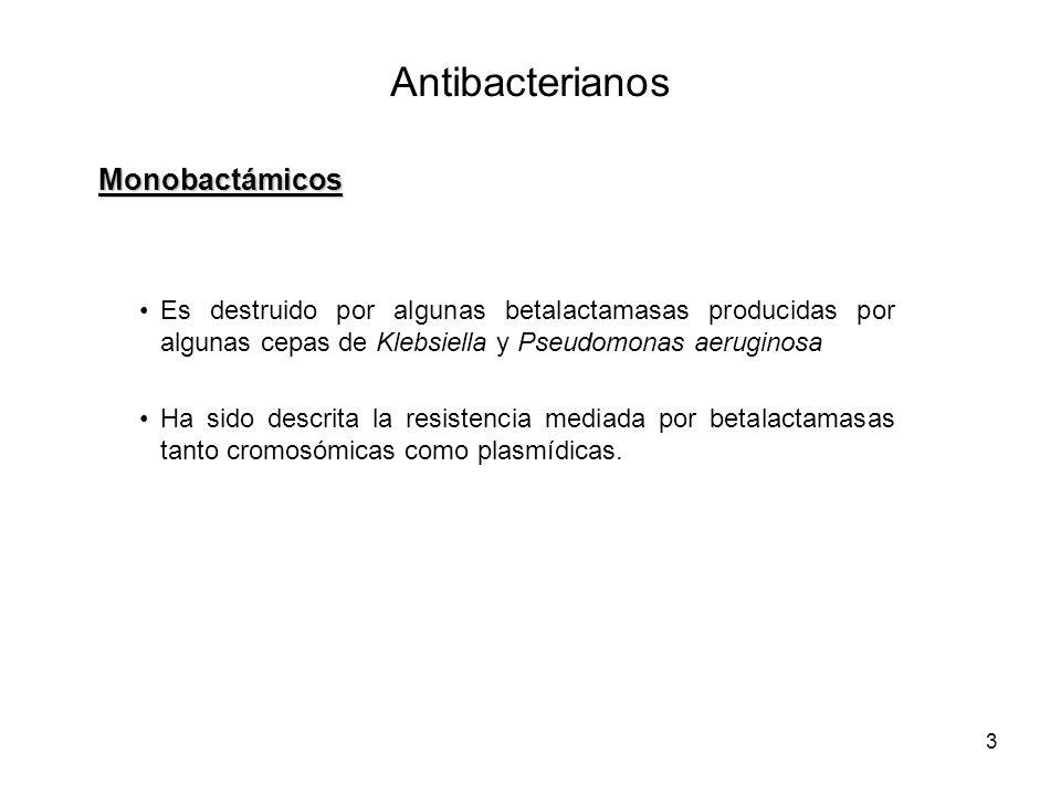 3 Es destruido por algunas betalactamasas producidas por algunas cepas de Klebsiella y Pseudomonas aeruginosa Ha sido descrita la resistencia mediada