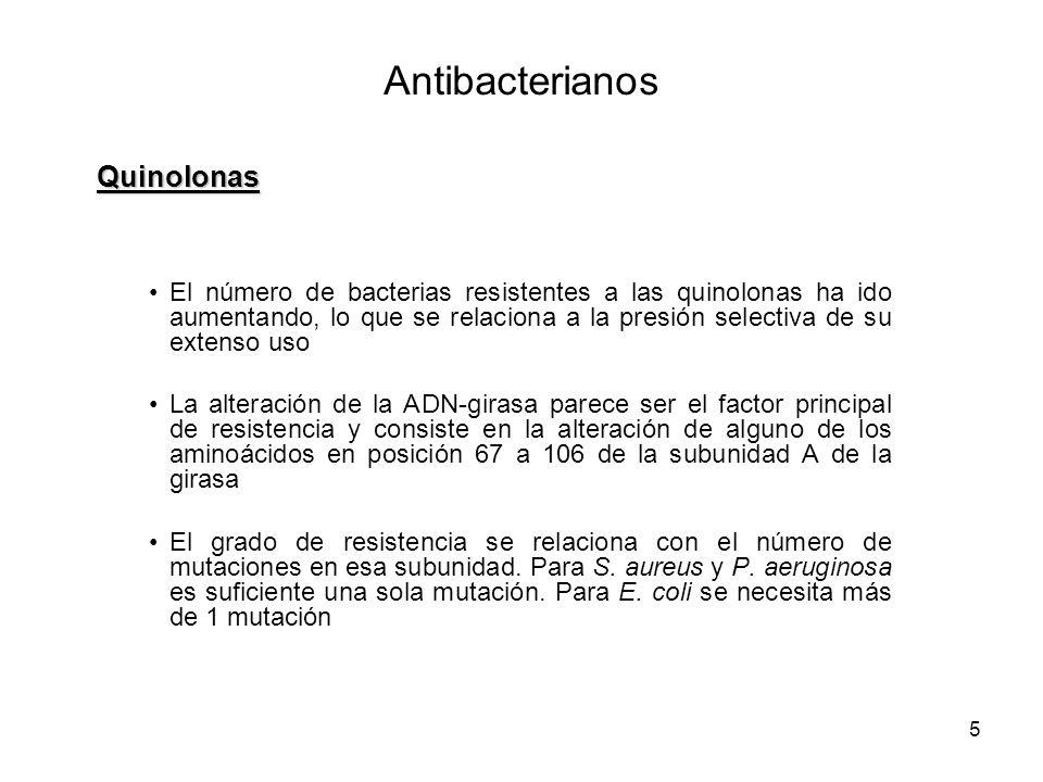 5 El número de bacterias resistentes a las quinolonas ha ido aumentando, lo que se relaciona a la presión selectiva de su extenso uso La alteración de