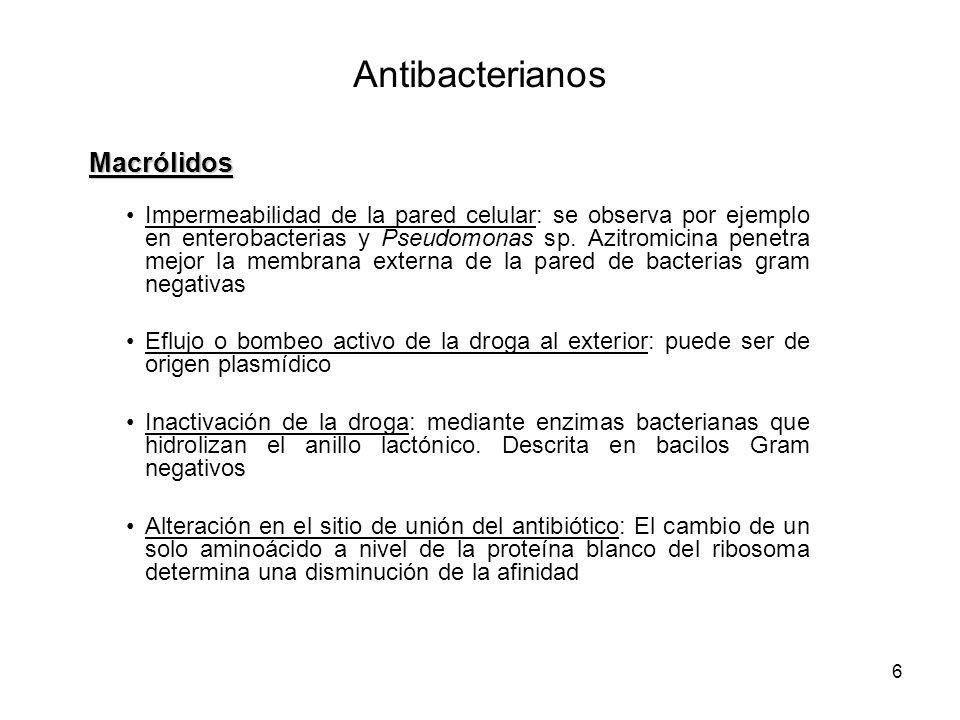 7 Se describen 3 tipos principales de resistencia en Enterococcus sp.: –Resistencia van A.