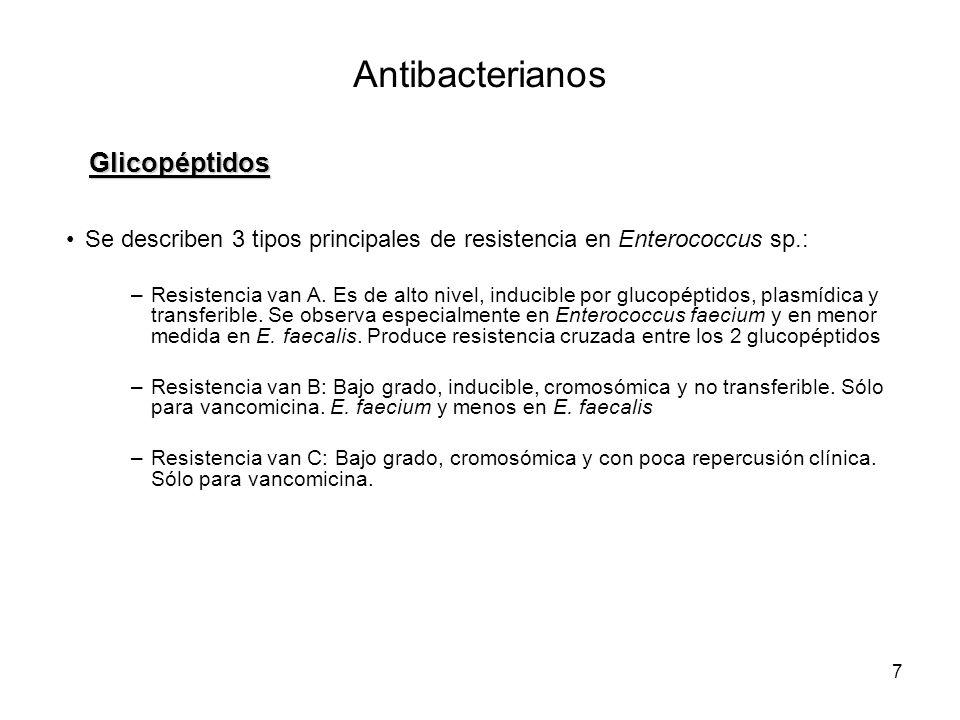 7 Se describen 3 tipos principales de resistencia en Enterococcus sp.: –Resistencia van A. Es de alto nivel, inducible por glucopéptidos, plasmídica y