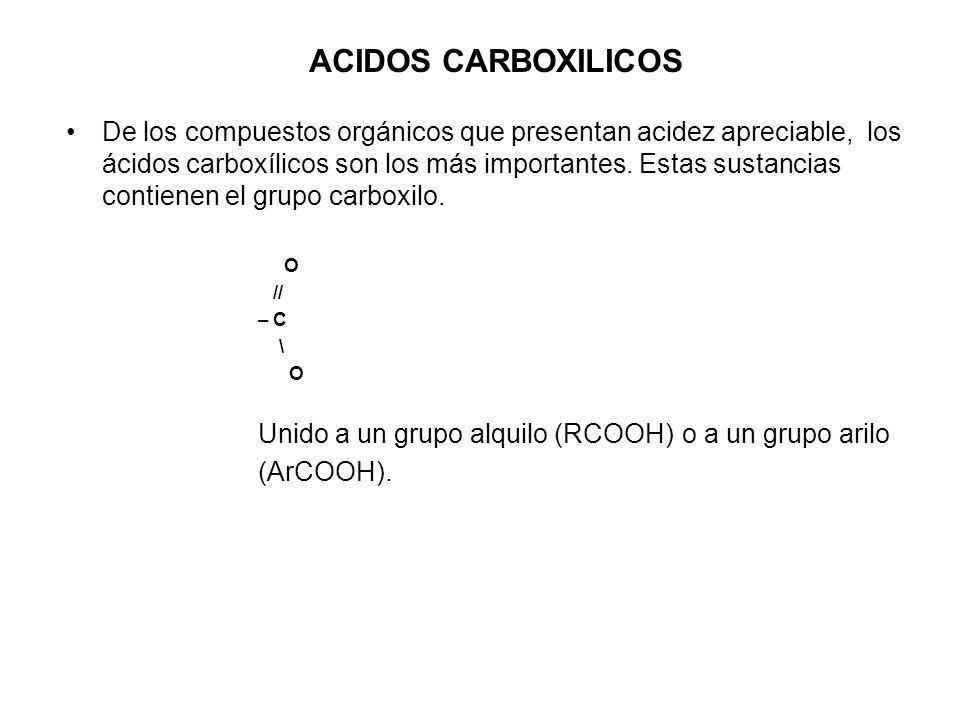 ACIDOS CARBOXILICOS De los compuestos orgánicos que presentan acidez apreciable, los ácidos carboxílicos son los más importantes. Estas sustancias con