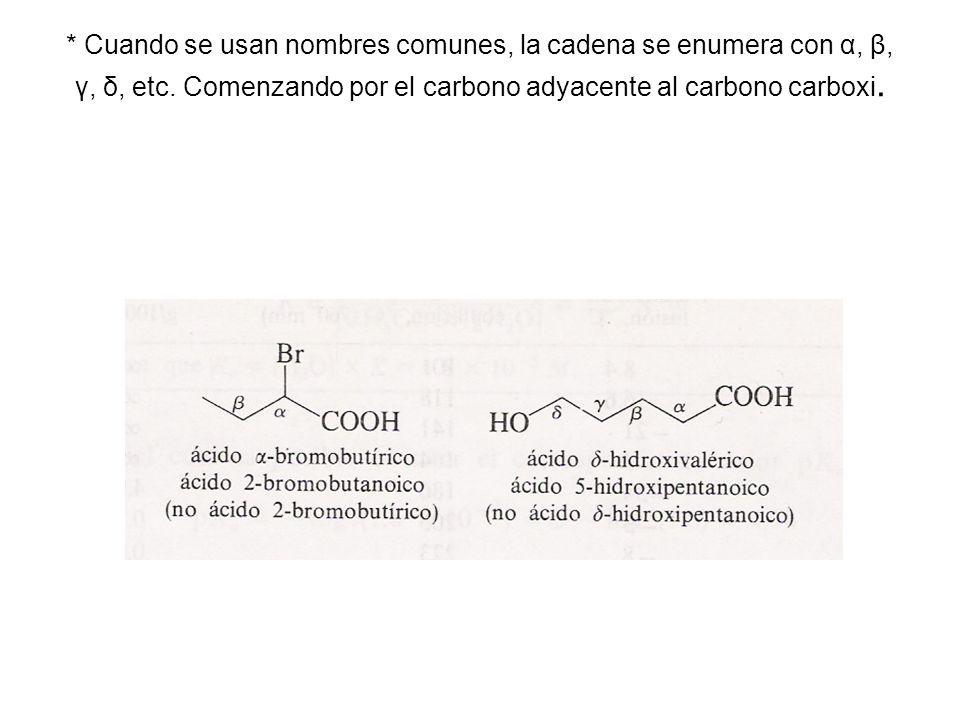 * Cuando se usan nombres comunes, la cadena se enumera con α, β, γ, δ, etc. Comenzando por el carbono adyacente al carbono carboxi.
