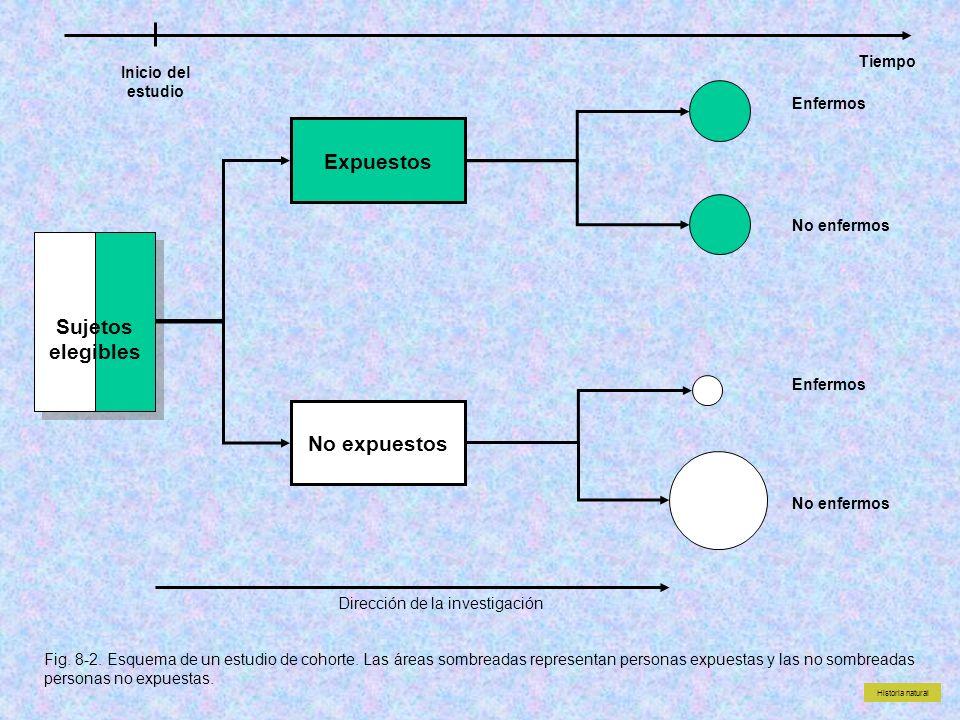 Sujetos elegibles Expuestos No expuestos No enfermos Enfermos Fig. 8-2. Esquema de un estudio de cohorte. Las áreas sombreadas representan personas ex