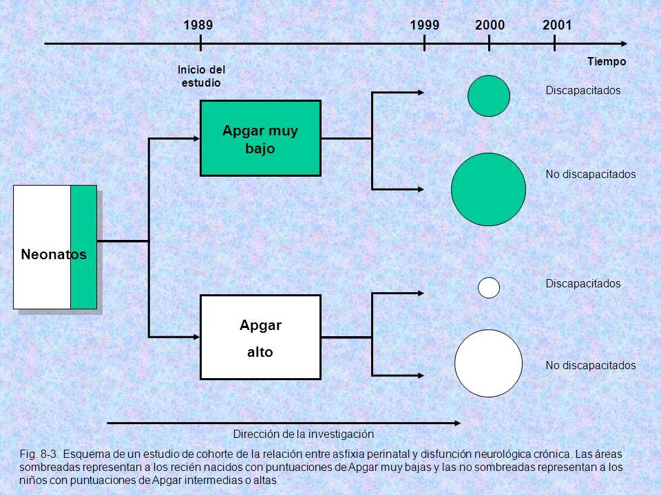 Inicio del estudio Tiempo 1989199920002001 Neonatos Apgar muy bajo Apgar alto No discapacitados Discapacitados Dirección de la investigación Fig. 8-3.