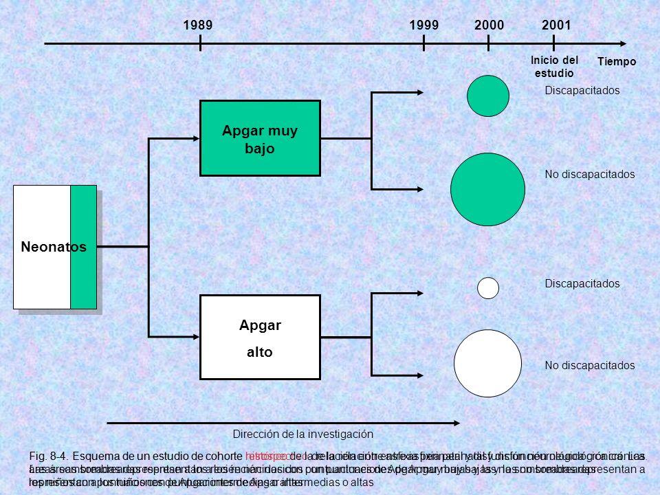 Tiempo Inicio del estudio 1989199920002001 Apgar muy bajo Apgar alto No discapacitados Discapacitados Dirección de la investigación Fig. 8-4. Esquema