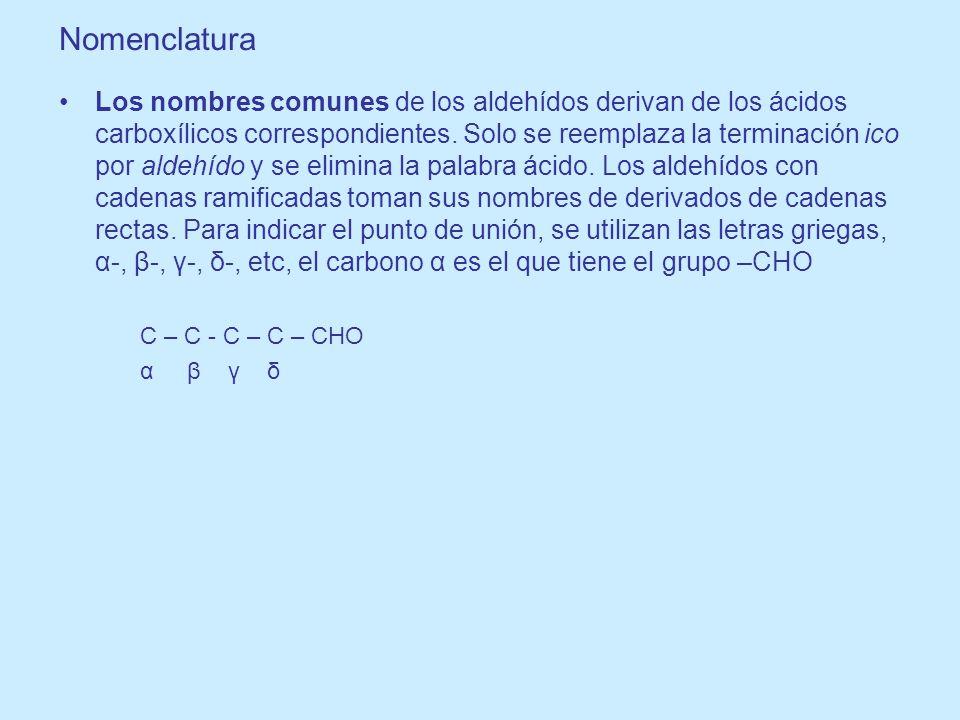 Los nombres IUPAC de los aldehídos siguen un patrón común: Seleccionar la cedena más larga que contiene el grupo –CHO se considera la estructura matriz y recibe su nombre del reemplazo de la terminación o del alcano por al.
