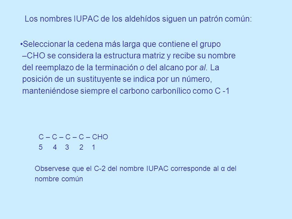 Los nombres IUPAC de los aldehídos siguen un patrón común: Seleccionar la cedena más larga que contiene el grupo –CHO se considera la estructura matri