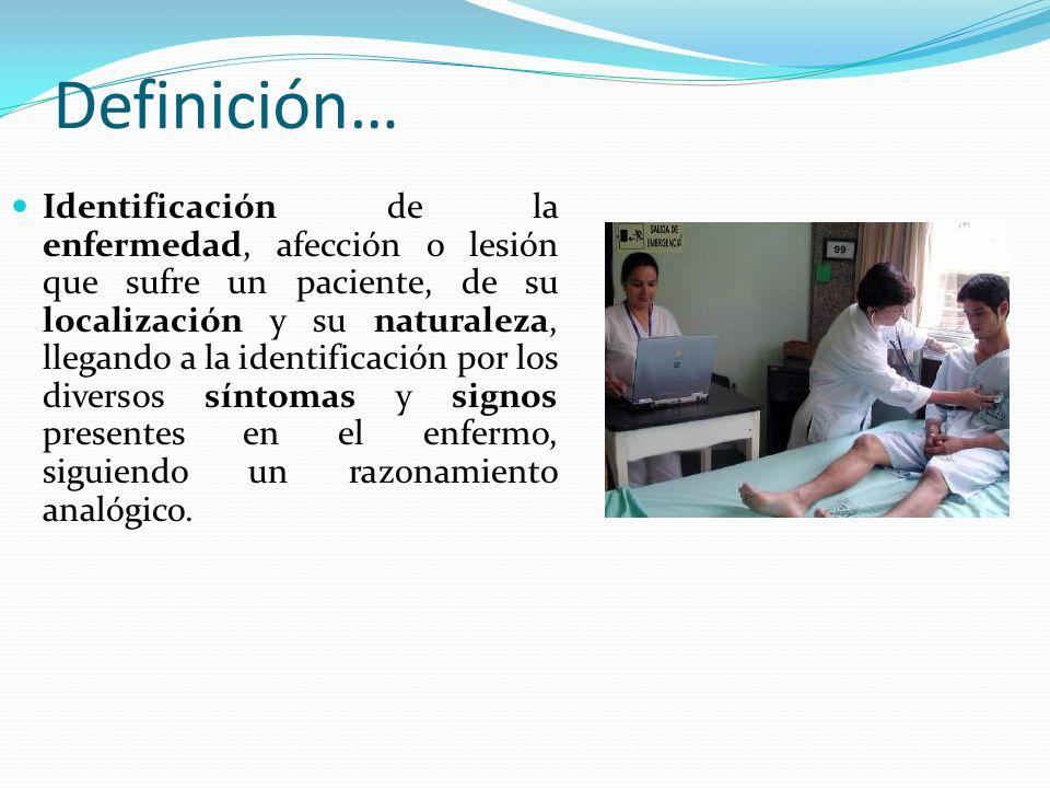 Definición… Identificación de la enfermedad, afección o lesión que sufre un paciente, de su localización y su naturaleza, llegando a la identificación