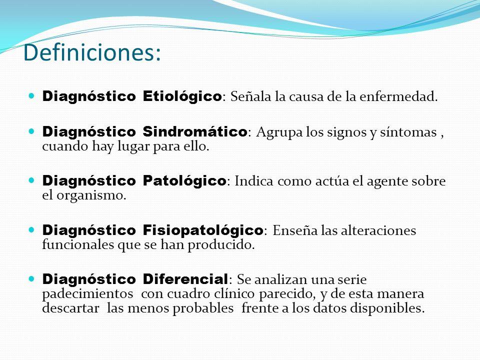 Definiciones: Diagnóstico Etiológico : Señala la causa de la enfermedad. Diagnóstico Sindromático : Agrupa los signos y síntomas, cuando hay lugar par
