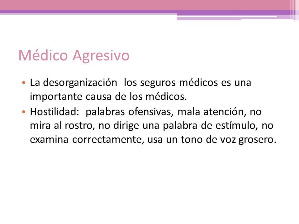 Médico Agresivo La desorganización los seguros médicos es una importante causa de los médicos. Hostilidad: palabras ofensivas, mala atención, no mira