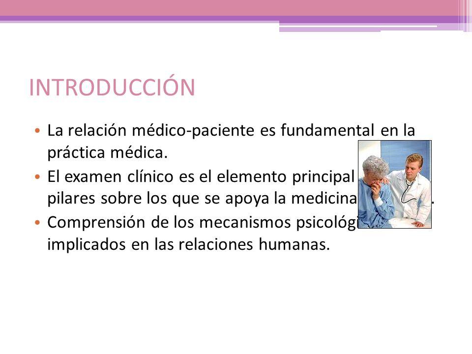 INTRODUCCIÓN La relación médico-paciente es fundamental en la práctica médica. El examen clínico es el elemento principal de los 3 pilares sobre los q
