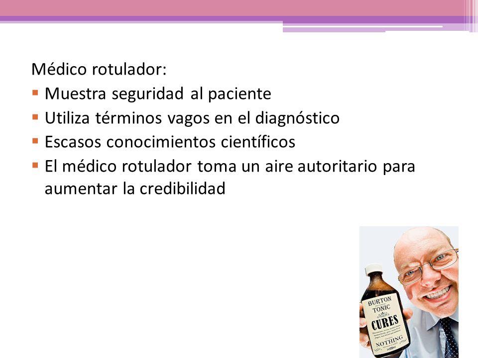 Médico rotulador: Muestra seguridad al paciente Utiliza términos vagos en el diagnóstico Escasos conocimientos científicos El médico rotulador toma un