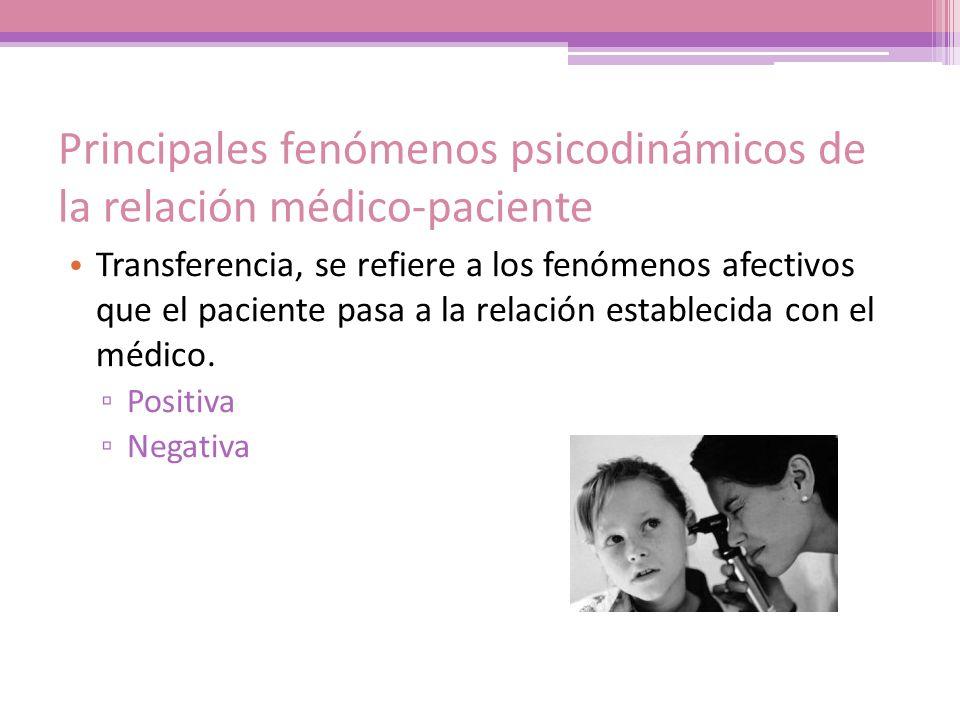 Principales fenómenos psicodinámicos de la relación médico-paciente Transferencia, se refiere a los fenómenos afectivos que el paciente pasa a la rela
