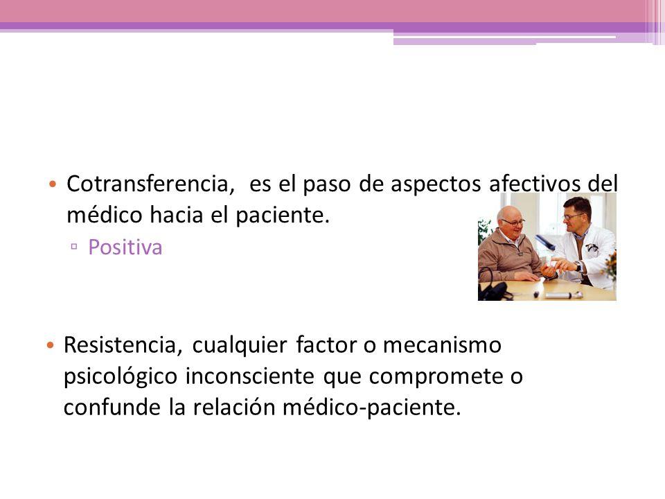 Cotransferencia, es el paso de aspectos afectivos del médico hacia el paciente. Positiva Resistencia, cualquier factor o mecanismo psicológico inconsc