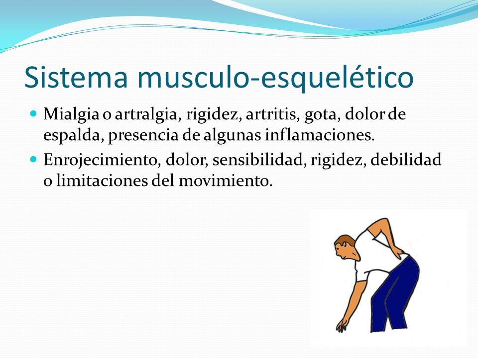 Sistema musculo-esquelético Mialgia o artralgia, rigidez, artritis, gota, dolor de espalda, presencia de algunas inflamaciones. Enrojecimiento, dolor,