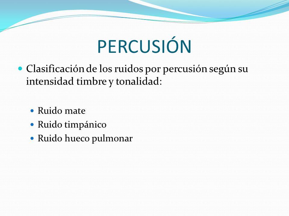 PERCUSIÓN Clasificación de los ruidos por percusión según su intensidad timbre y tonalidad: Ruido mate Ruido timpánico Ruido hueco pulmonar