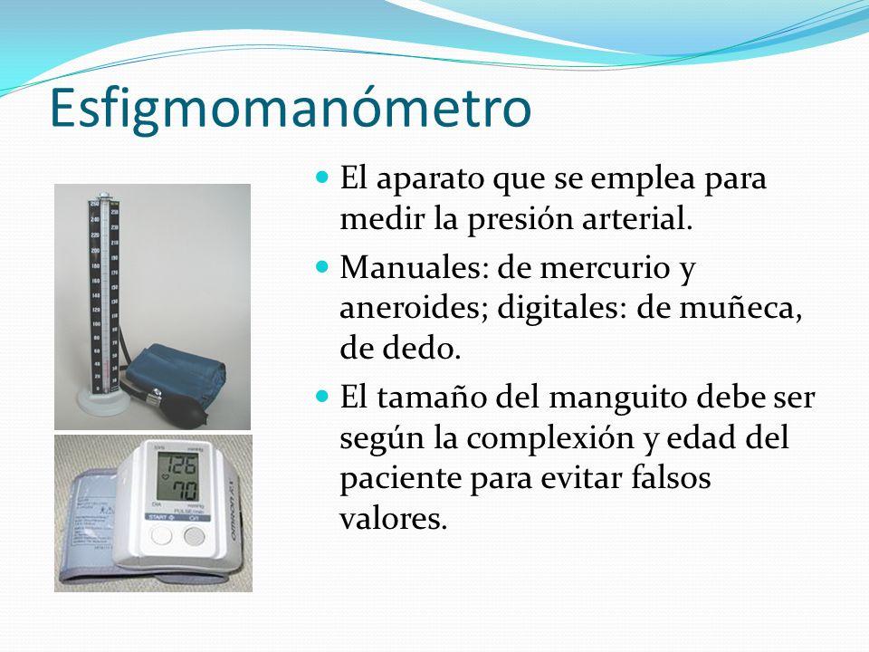 Esfigmomanómetro El aparato que se emplea para medir la presión arterial. Manuales: de mercurio y aneroides; digitales: de muñeca, de dedo. El tamaño