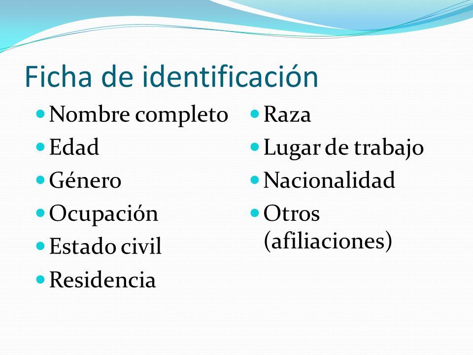 Ficha de identificación Nombre completo Edad Género Ocupación Estado civil Residencia Raza Lugar de trabajo Nacionalidad Otros (afiliaciones)