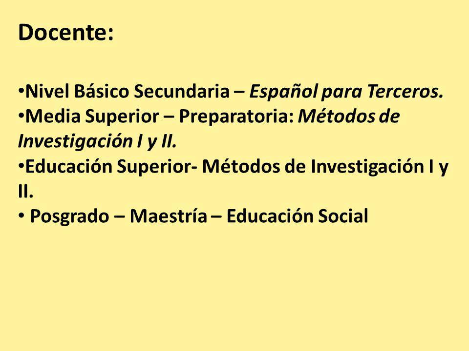 Docente: Nivel Básico Secundaria – Español para Terceros.