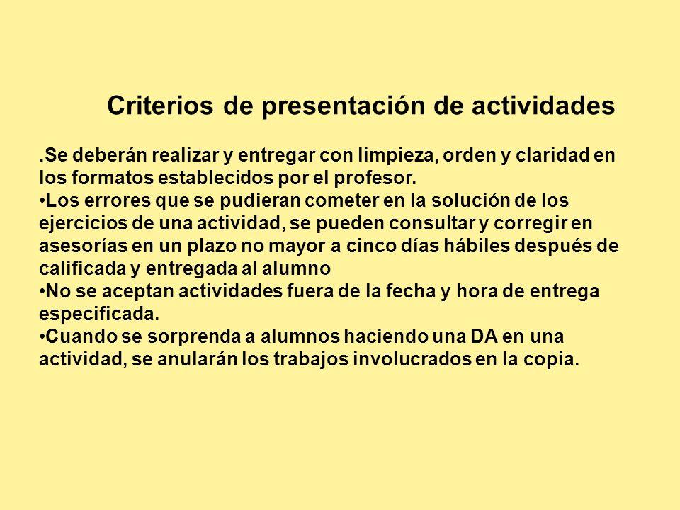 Criterios de presentación de actividades.Se deberán realizar y entregar con limpieza, orden y claridad en los formatos establecidos por el profesor. L