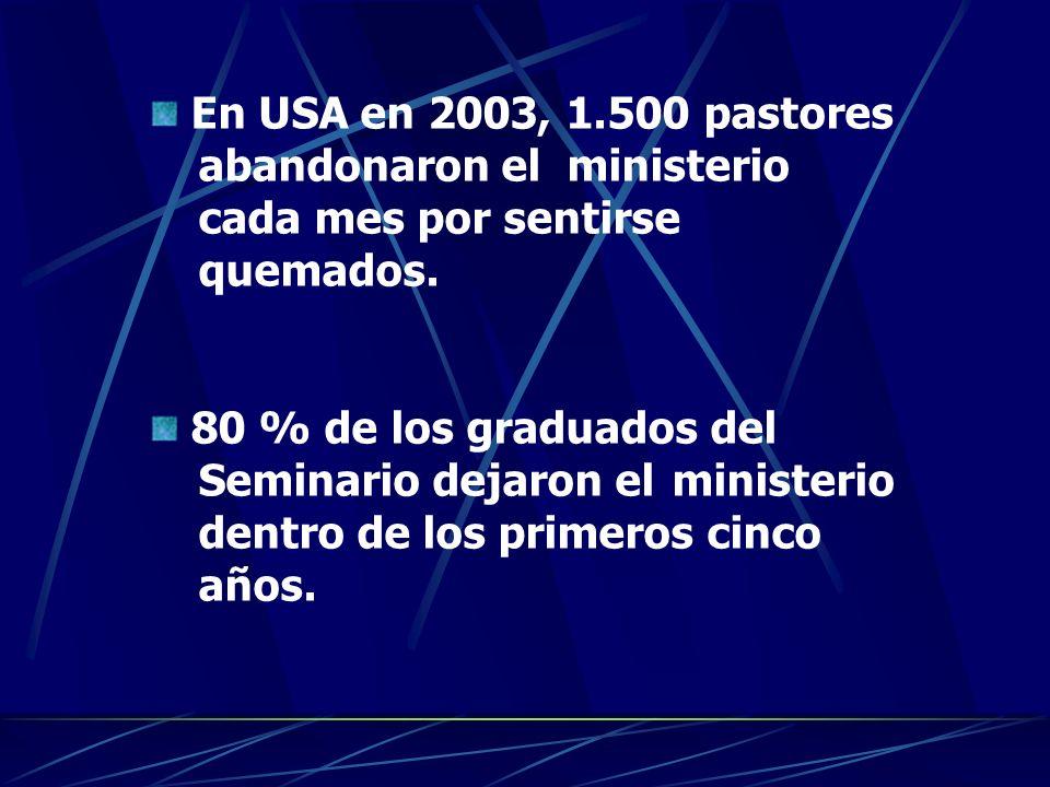 En USA en 2003, 1.500 pastores abandonaron elministerio cada mes por sentirse quemados. 80 % de los graduados del Seminario dejaron elministerio dentr