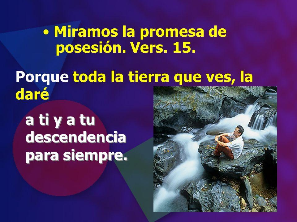 Miramos la promesa de posesión. Vers. 15. a ti y a tu descendencia para siempre. a ti y a tu descendencia para siempre. Porque toda la tierra que ves,