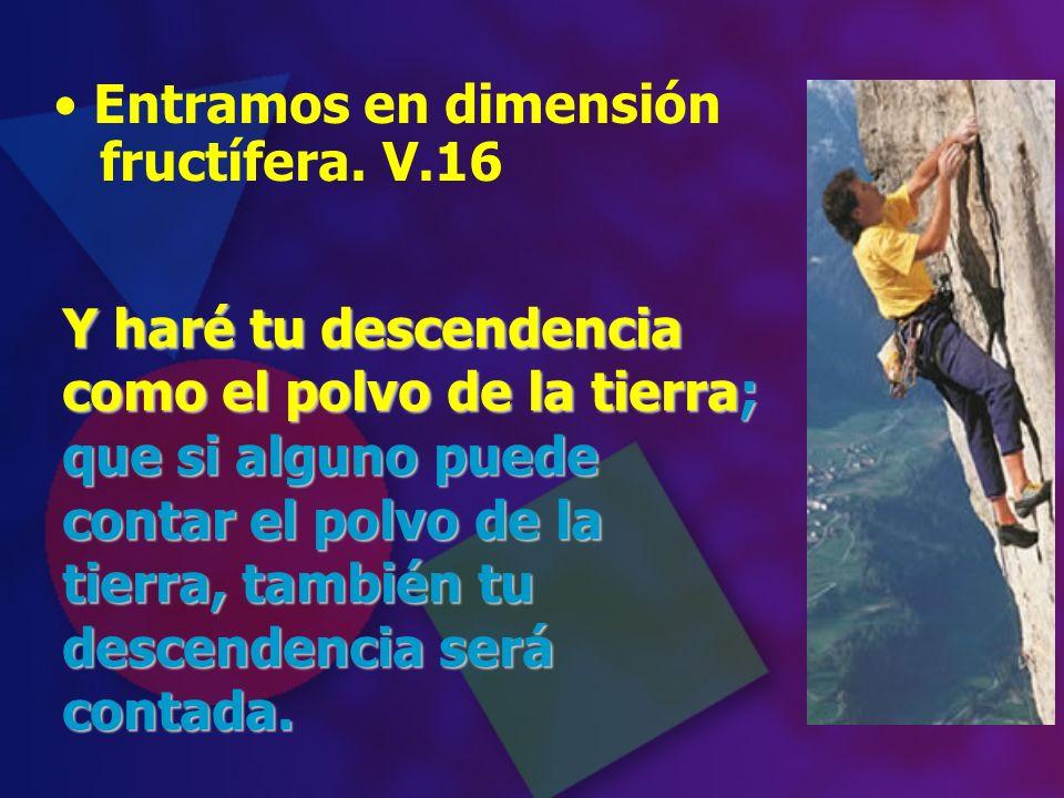 Entramos en dimensión fructífera. V.16 Y haré tu descendencia como el polvo de la tierra; que si alguno puede contar el polvo de la tierra, también tu