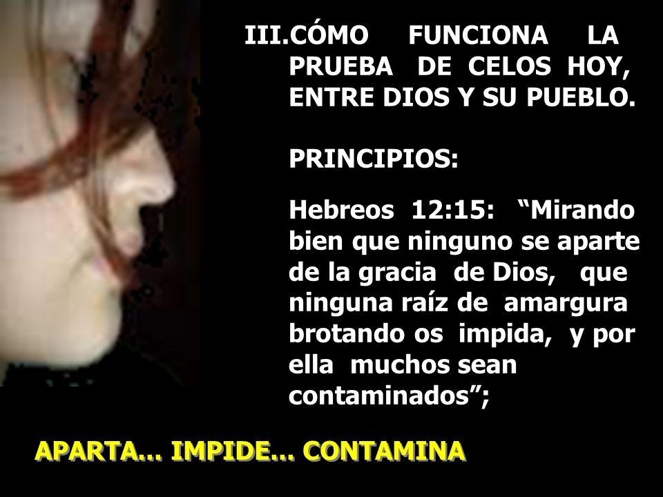 III.CÓMO FUNCIONA LA PRUEBA DE CELOS HOY, ENTRE DIOS Y SU PUEBLO. PRINCIPIOS: Hebreos 12:15: Mirando bien que ninguno se aparte de la gracia de Dios,