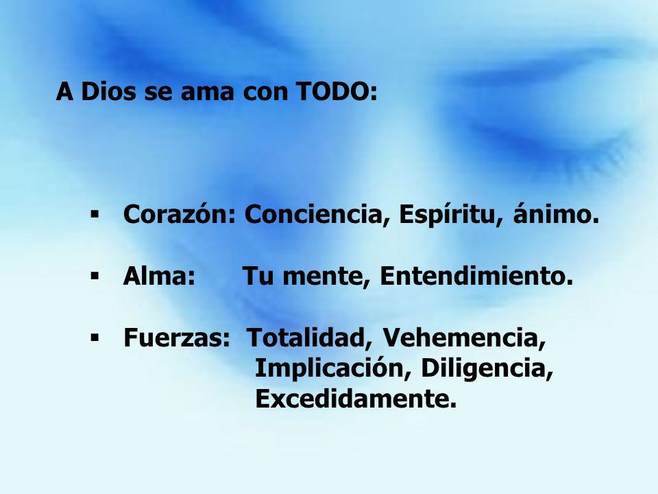 A Dios se ama con TODO: Corazón: Conciencia, Espíritu, ánimo. Alma: Tu mente, Entendimiento. Fuerzas: Totalidad, Vehemencia, Implicación, Diligencia,