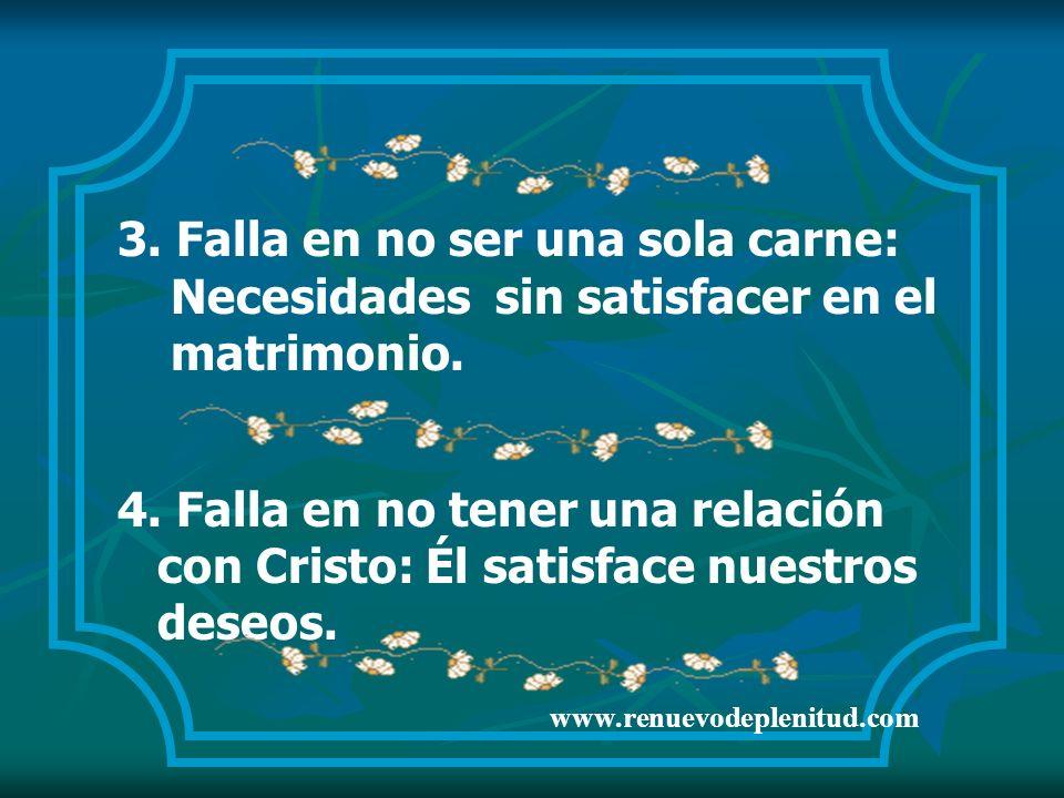3. Falla en no ser una sola carne: Necesidades sin satisfacer en el matrimonio. 4. Falla en no tener una relación con Cristo: Él satisface nuestros de