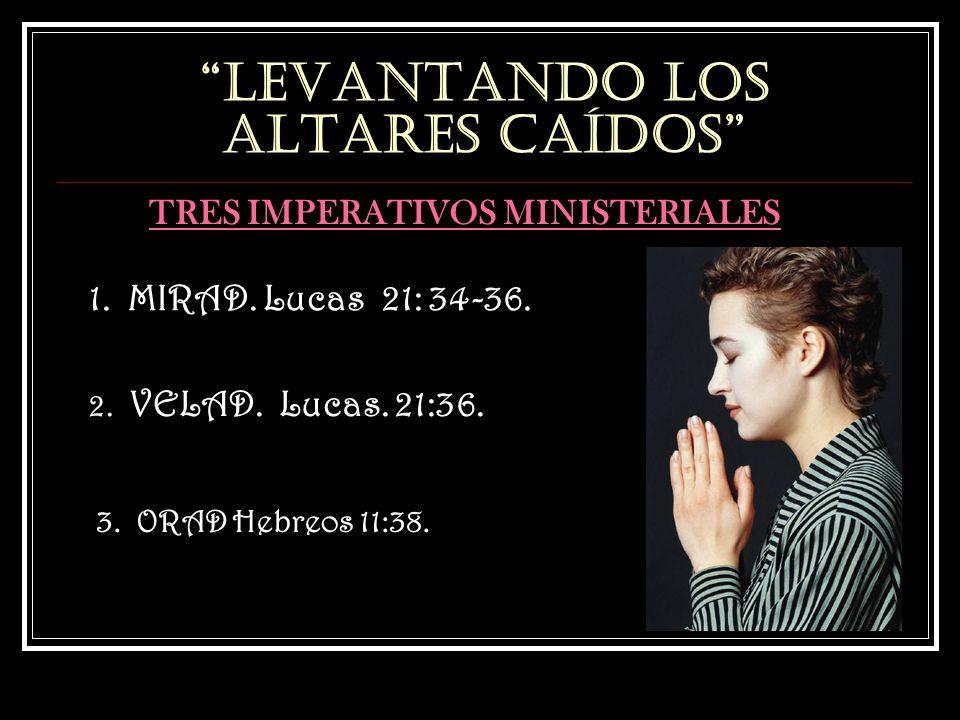 LEVANTANDO LOS ALTARES CAÍDOS TRES IMPERATIVOS MINISTERIALES 1. MIRAD. Lucas 21: 34-36. 2. VELAD. Lucas. 21:36. 3. ORAD Hebreos 11:38.