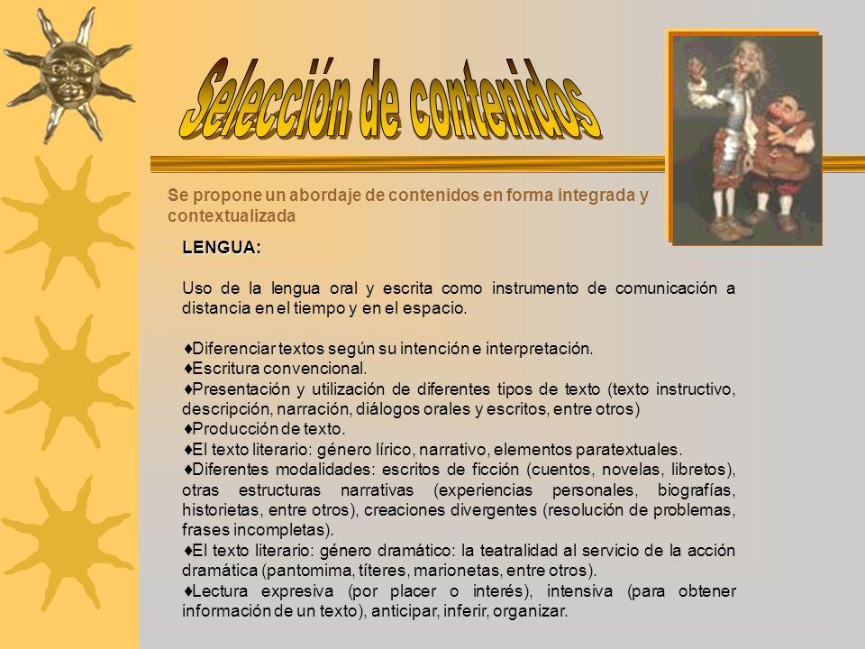 LENGUA: Uso de la lengua oral y escrita como instrumento de comunicación a distancia en el tiempo y en el espacio. Diferenciar textos según su intenci