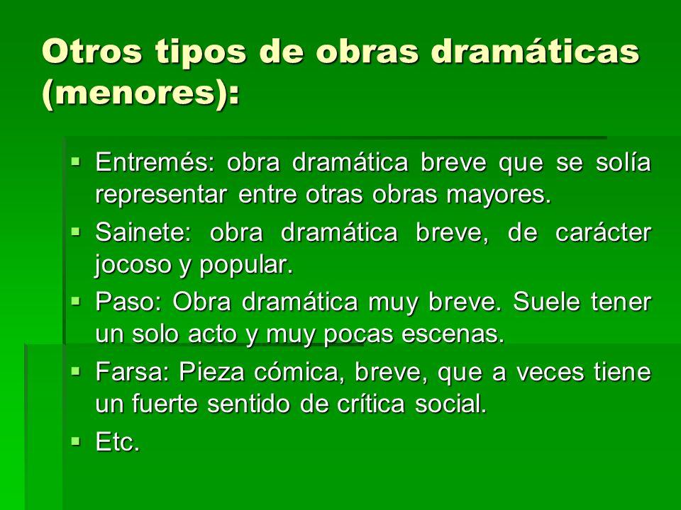 Otros tipos de obras dramáticas (menores): Entremés: obra dramática breve que se solía representar entre otras obras mayores. Entremés: obra dramática