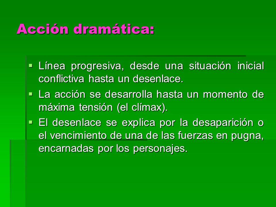 Acción dramática: Línea progresiva, desde una situación inicial conflictiva hasta un desenlace. Línea progresiva, desde una situación inicial conflict