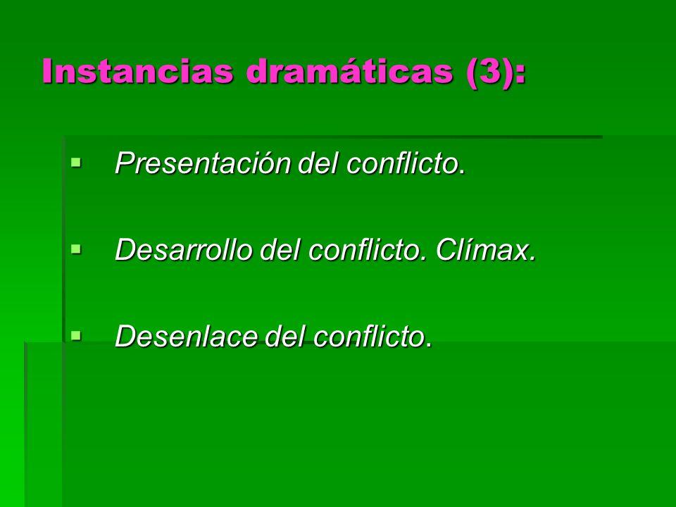 Instancias dramáticas (3): Presentación del conflicto. Presentación del conflicto. Desarrollo del conflicto. Clímax. Desarrollo del conflicto. Clímax.