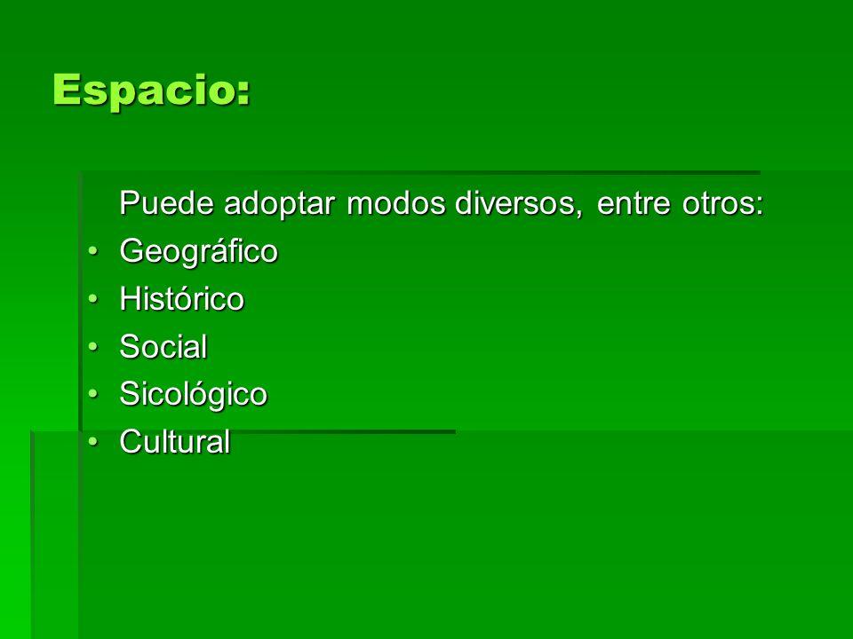 Espacio: Puede adoptar modos diversos, entre otros: GeográficoGeográfico HistóricoHistórico SocialSocial SicológicoSicológico CulturalCultural
