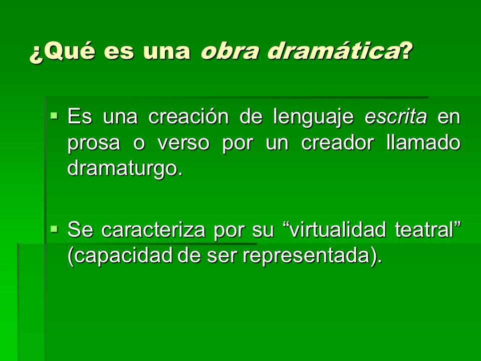 ¿Qué es una obra dramática? Es una creación de lenguaje escrita en prosa o verso por un creador llamado dramaturgo. Es una creación de lenguaje escrit