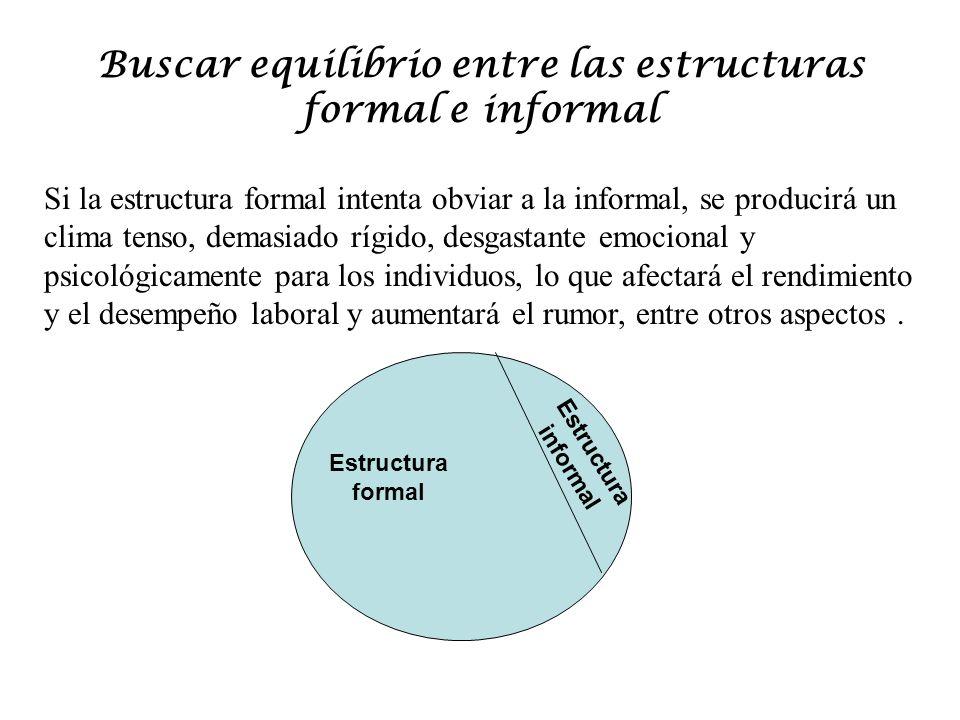 Buscar equilibrio entre las estructuras formal e informal Estructura formal Estructura informal Si la informal prevalece sobre la formal se corre el riesgo, también, de tener una desviación de los objetivos, lo que ocasiona desgaste de recursos para lograr los objetivos.