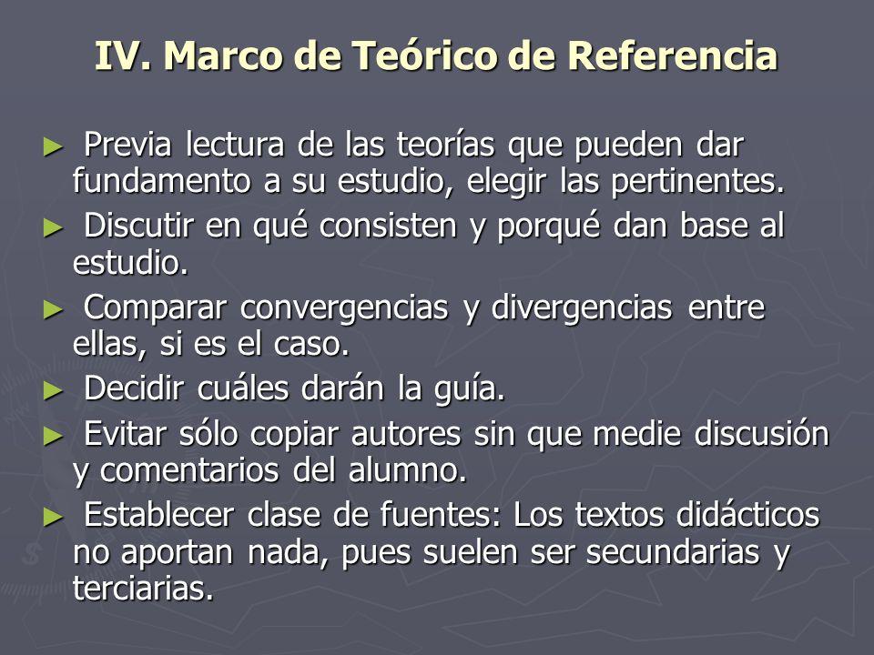 IV. Marco de Teórico de Referencia Previa lectura de las teorías que pueden dar fundamento a su estudio, elegir las pertinentes. Previa lectura de las