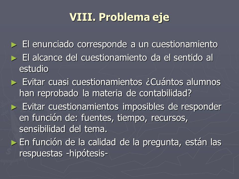 VIII. Problema eje El enunciado corresponde a un cuestionamiento El enunciado corresponde a un cuestionamiento El alcance del cuestionamiento da el se