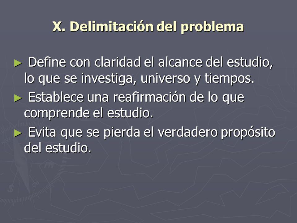 X. Delimitación del problema Define con claridad el alcance del estudio, lo que se investiga, universo y tiempos. Define con claridad el alcance del e