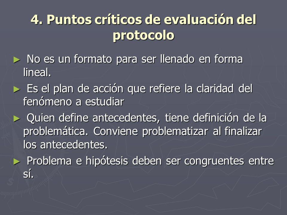 4. Puntos críticos de evaluación del protocolo No es un formato para ser llenado en forma lineal. No es un formato para ser llenado en forma lineal. E