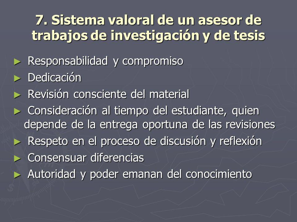 7. Sistema valoral de un asesor de trabajos de investigación y de tesis Responsabilidad y compromiso Responsabilidad y compromiso Dedicación Dedicació
