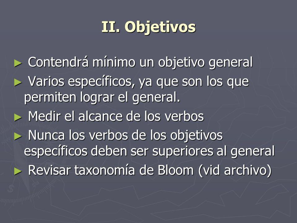 II. Objetivos Contendrá mínimo un objetivo general Contendrá mínimo un objetivo general Varios específicos, ya que son los que permiten lograr el gene
