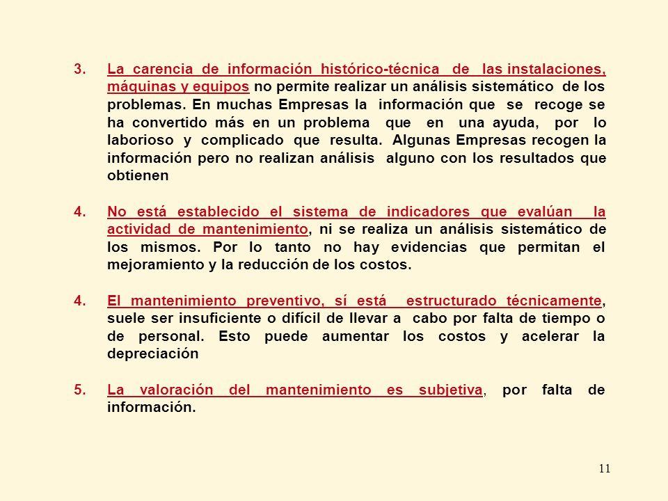 11 3. La carencia de información histórico-técnica de las instalaciones, máquinas y equipos no permite realizar un análisis sistemático de los problem