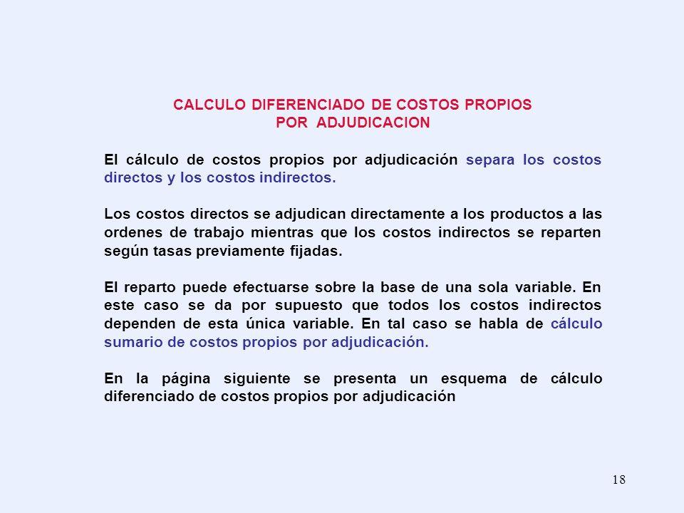 18 CALCULO DIFERENCIADO DE COSTOS PROPIOS POR ADJUDICACION El cálculo de costos propios por adjudicación separa los costos directos y los costos indir